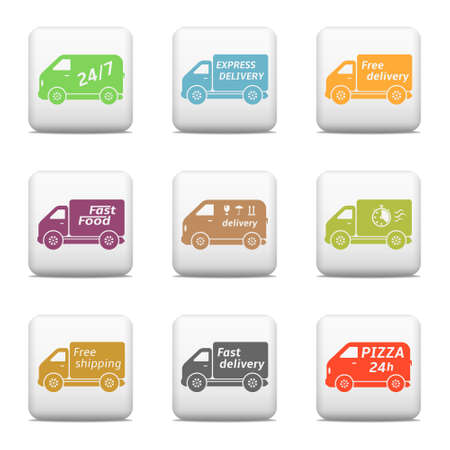 Web buttons, delivery car icons Vector