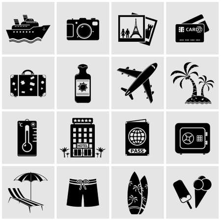 woman credit card: Travel icons - Vector
