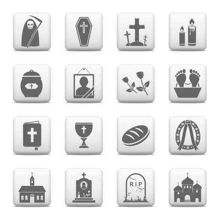 catholic mass: Funeral and burial icons - vector web buttons