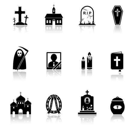 Funeral iconen Stock Illustratie