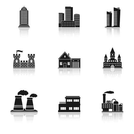 Buildings and factories icons Vector