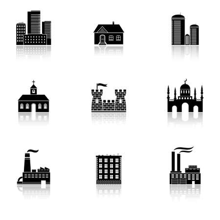 Various buildings icons with reflection Vector