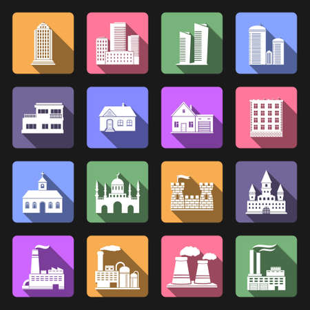 church interior: Building flat icons set