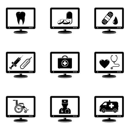 Medicine signs on monitor screen Vector
