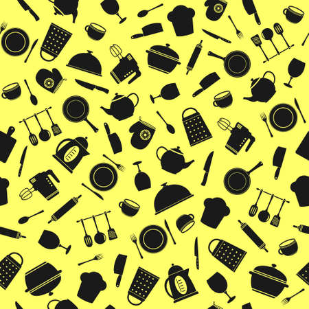 Kitchen utensils - seamless pattern, vector background Vector