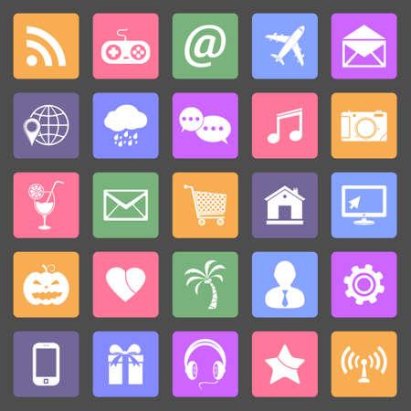 Set of social media icons, flat design vector Vector