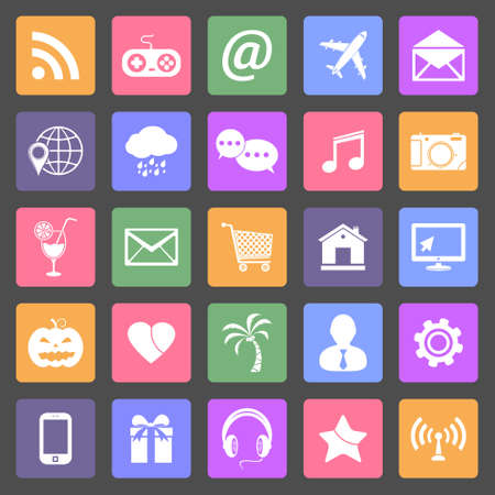 Set of social media icons, flat design vector Vector