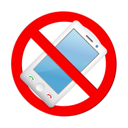 No cell phone sign isolated on white background Illusztráció