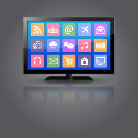 flat screen tv: Smart TV with apps icons