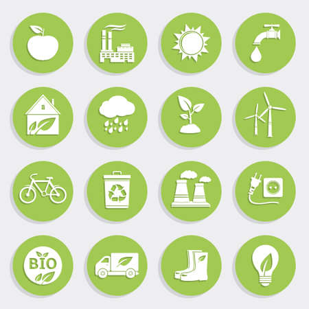 Set of Green Ecology Flat Icons Vector