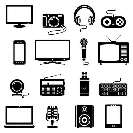 tv camera: Computer and technology icon set