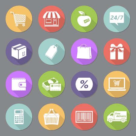 Shopping flat icon set Illustration