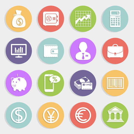 Finance and business icons set Illustration