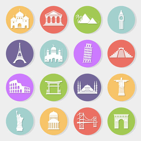 World landmarks, vector flat icons set Vector
