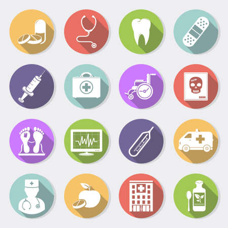 Medical icons, flat design vector