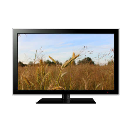 lcd tv with wheat field in the screen photo