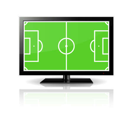 lcd tv: Modern LCD monitor with football field in the screen Illustration