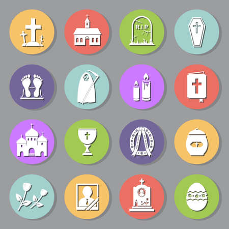 Funeral flat icons set Vector