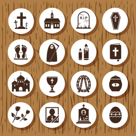 corpse flower: Funeral Icons Illustration