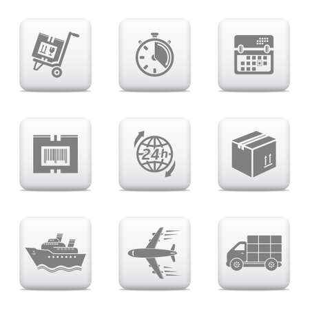 Logistics shipping icons, web buttons  Illustration