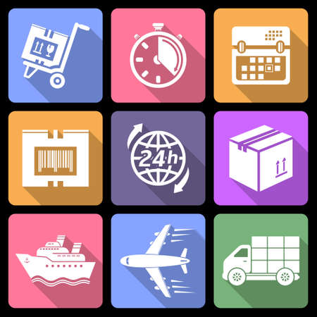 Logistic flat icons with long shadow Vector