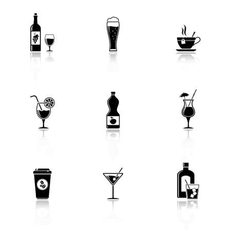 Vector black drinks & beverages icons Vector