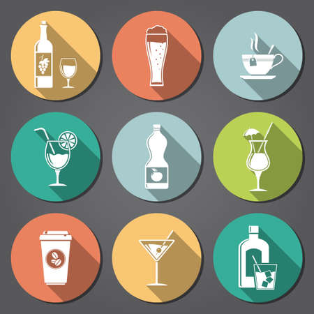Drinks and beverages flat icons with long shadow Vector