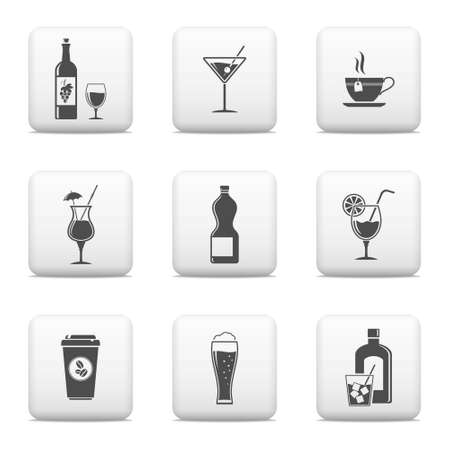 Beverage icons, vector web buttons Vector