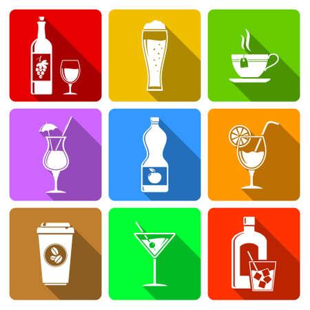 Beverage flat design icons Vector