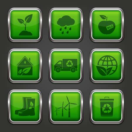 Eco app icons Vector