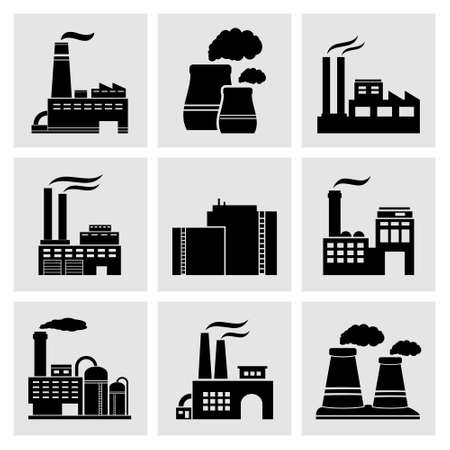 industrial buildings factory: Factory icons Illustration