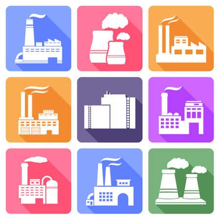 industria quimica: Iconos planos de fábrica con larga sombra
