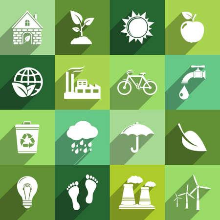 camion de basura: Iconos de la ecolog�a con larga sombra Vectores