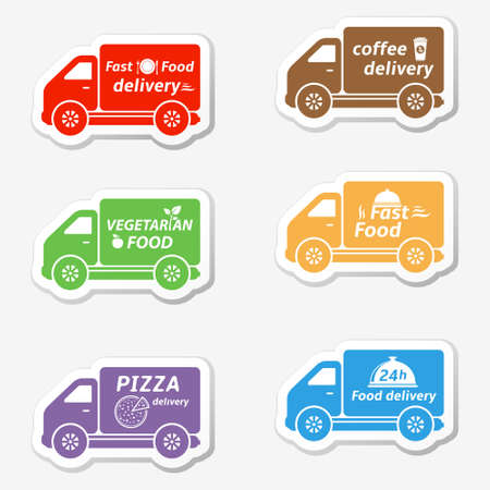 Fast food delivery cars, shipping stickers Vector