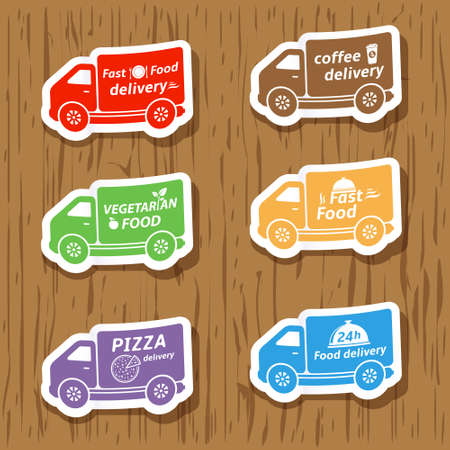 Fast food delivery, vector stickers Vector