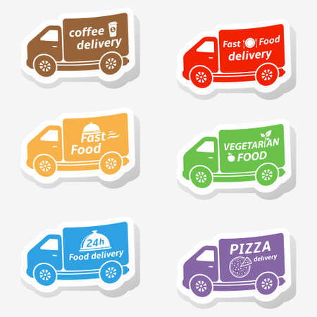 Fast food delivery truck stickers Vector