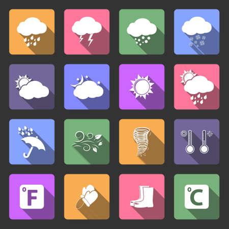climatology: Weather icons, flat design