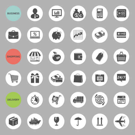 Set of web icons for business, shopping and delivery Illusztráció