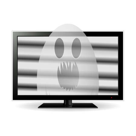 lcd screen: Ghost on lcd tv screen, vector illustration.