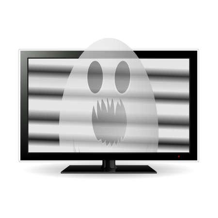 tv scherm: Spook op lcd tv-scherm, vector illustratie.