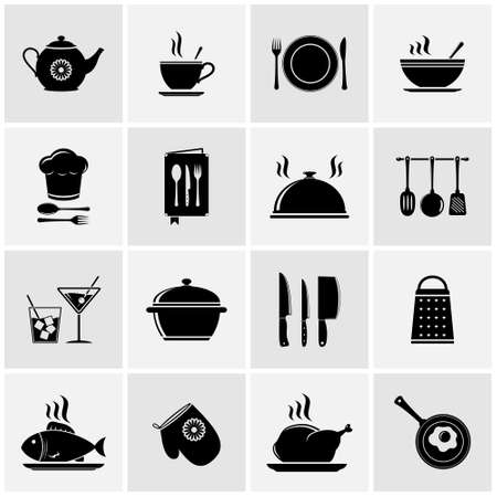 soup spoon: Set of kitchen tools silhouettes Illustration
