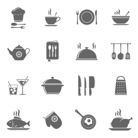 Vector cooking and kitchen icons set Vector