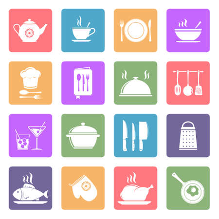 Cooking and kitchen icons, flat design vector Vector