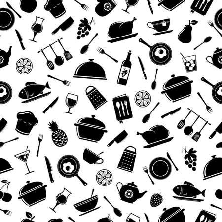 キッチン ツールのシームレスなパターン ベクトル