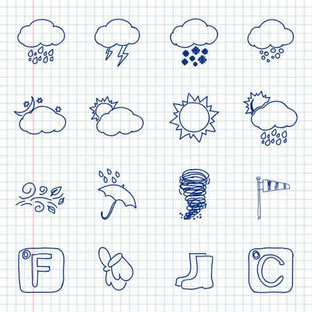 climatology: Hand drawn weather icons Illustration