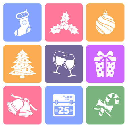 shopping champagne: Christmas icons, flat design vector Illustration