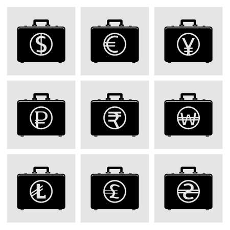 pecuniary: Briefcase icons with currency symbols