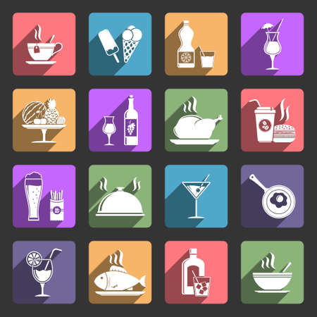 long drink: Food and drink icons with long shadow Illustration