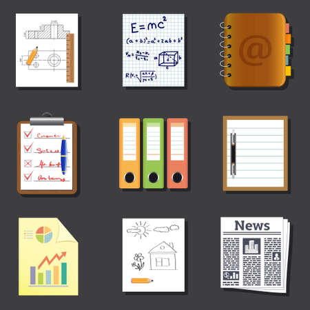 Paper and documents icons Vector