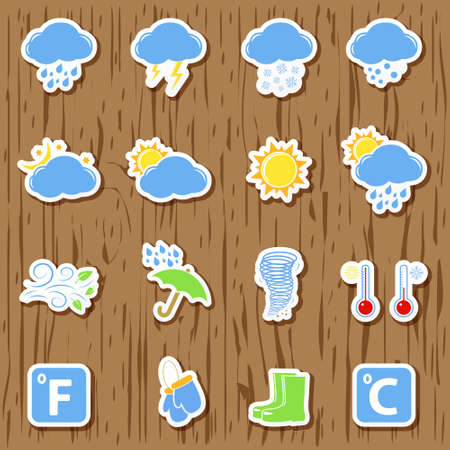 cold temperature: Set of Weather icons